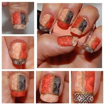 Three and one art nail art by Workoutqueen123