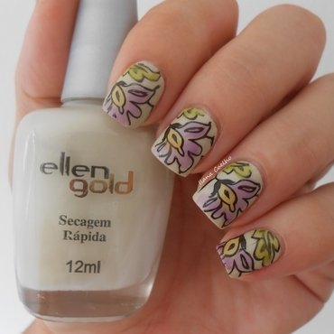 watercolour nail art by Ilana Coelho