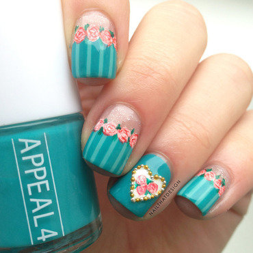 Roses and Stripes nail art by NailThatDesign