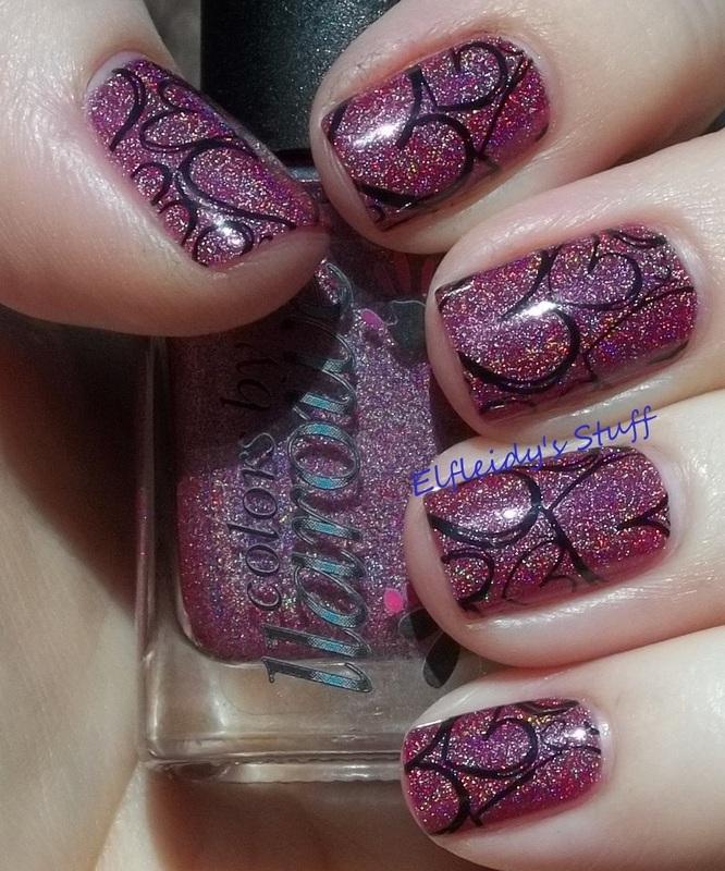 Pink and black nail art by Jenette Maitland-Tomblin