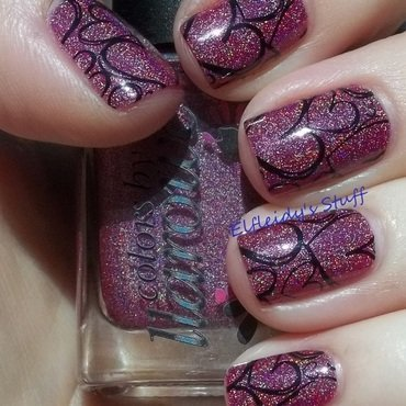 Pink and black nail art by Jenette Maitland-Tomblin