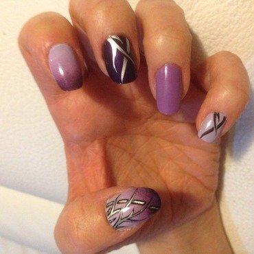 Tribal tatoo on purple gradient nail art by Eleadora