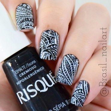 B&W nail art by Brasil_nailart