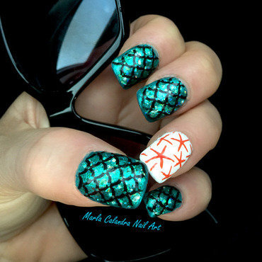 MERMAID'S TAIL AND STARFISHES nail art by Marla Calandra