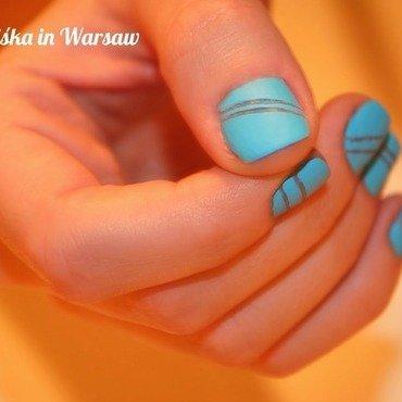 Blue Chalky Matte nail art by Niska