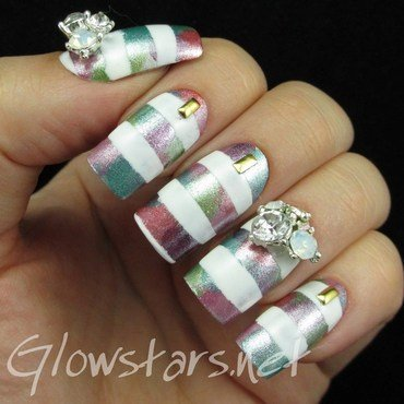 Striped Metallic Pastels nail art by Vic 'Glowstars' Pires