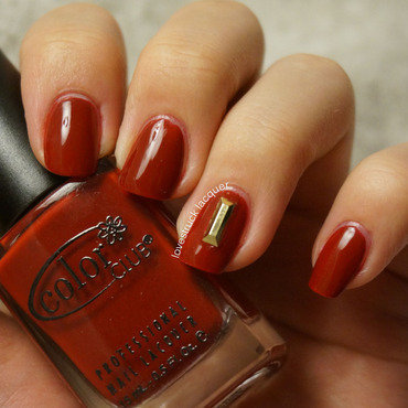 Chinese New Year with gold bar nail art by Stephanie L