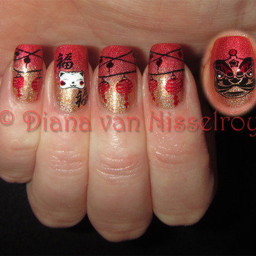 Chinese New Year nail art by Diana van Nisselroy