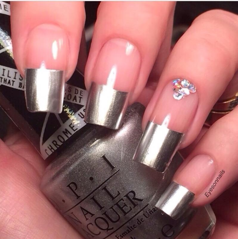 Metallic tips  nail art by Virginia