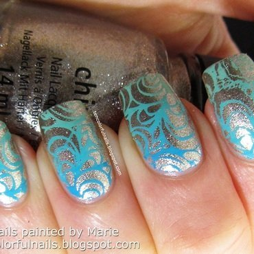 Gradient Turquoise Stamped Nail Art nail art by Marie
