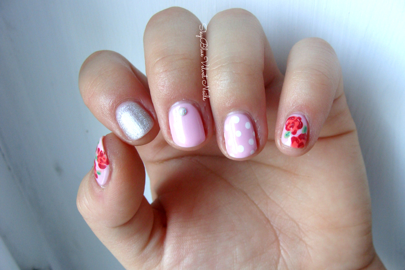 Valentines day mix nail art by Sky Blue Velvet Nails