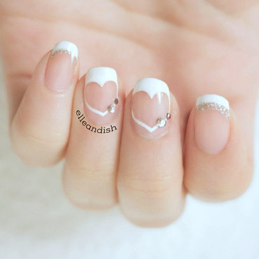 Heart French Tips with Negative Space nail art by elleandish