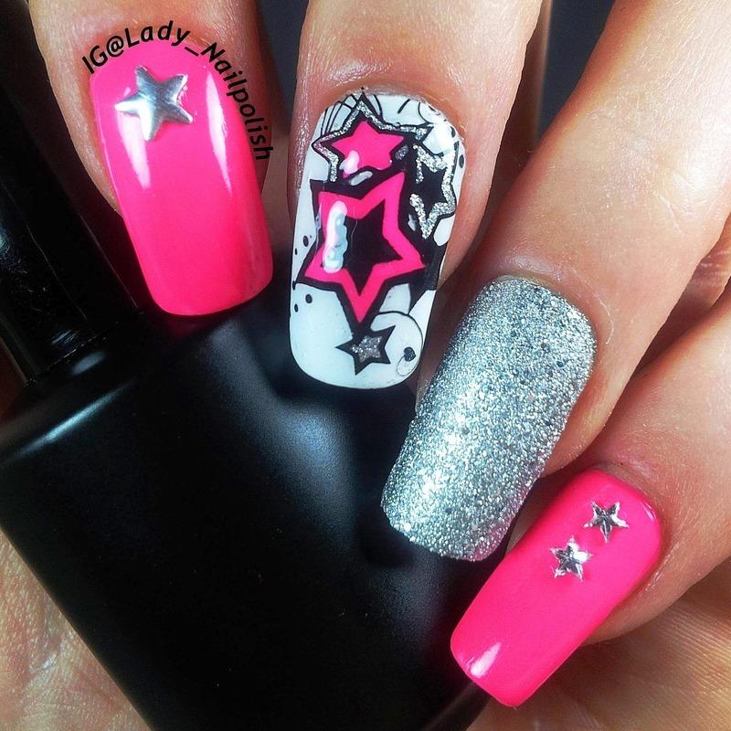 Neon Stars Manicure Version 2015 nail art by Lady Nailpolish ...