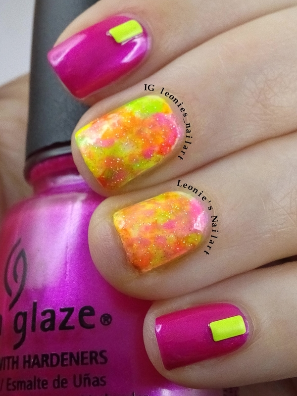Neons with studs nail art by Leonie
