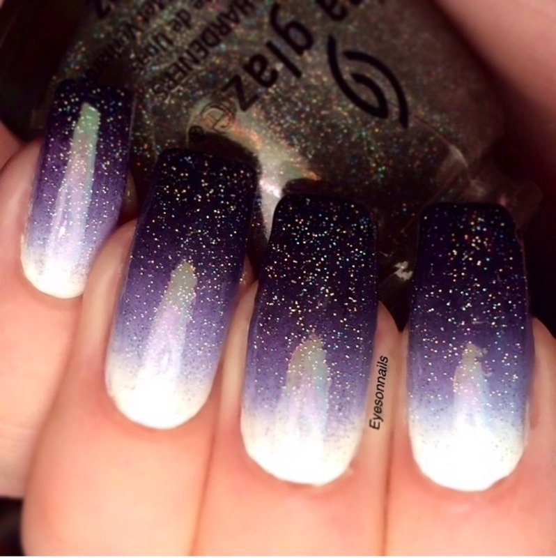 White-purple-black gradient nail art by Virginia - Nailpolis: Museum ...