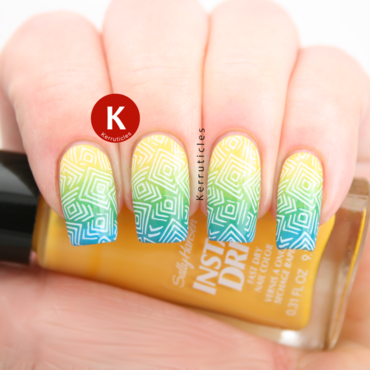 Yellow, green and blue stamped geometric gradient nail art by Claire Kerr