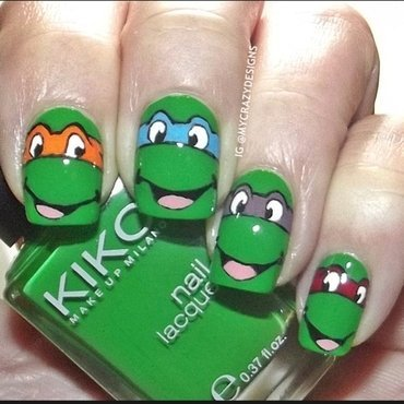 Ninja Turtles nails nail art by Mycrazydesigns