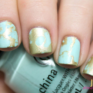 Water Spotted Gold & Turquoise Nail Art nail art by Julie
