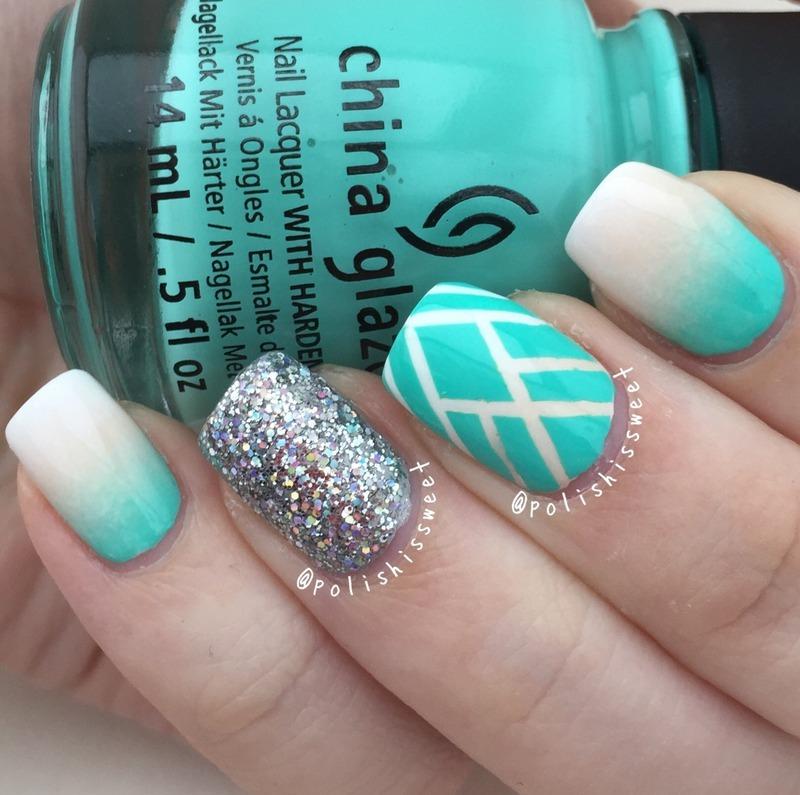 Ombré Striping Tape Mani! nail art by PolishIsSweet