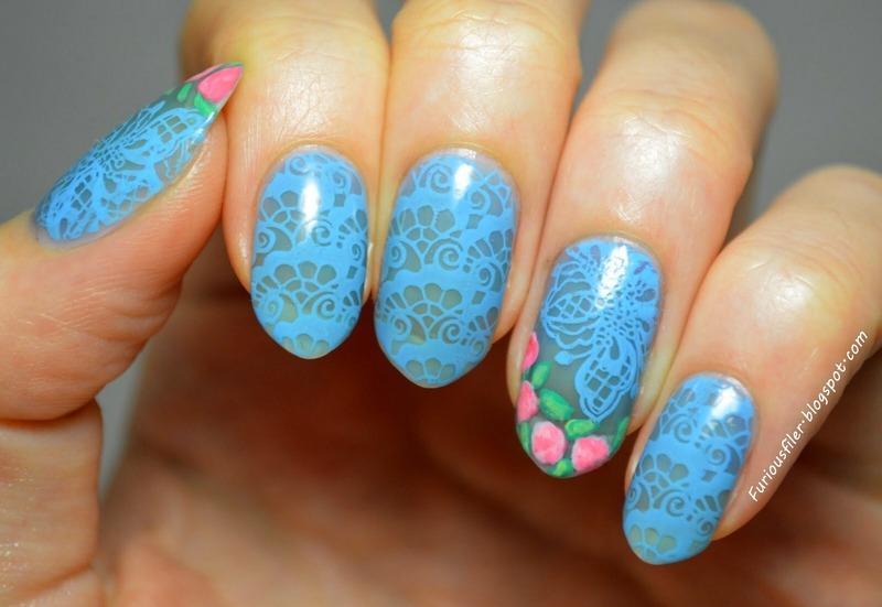 Rebel lace nail art by Furious Filer