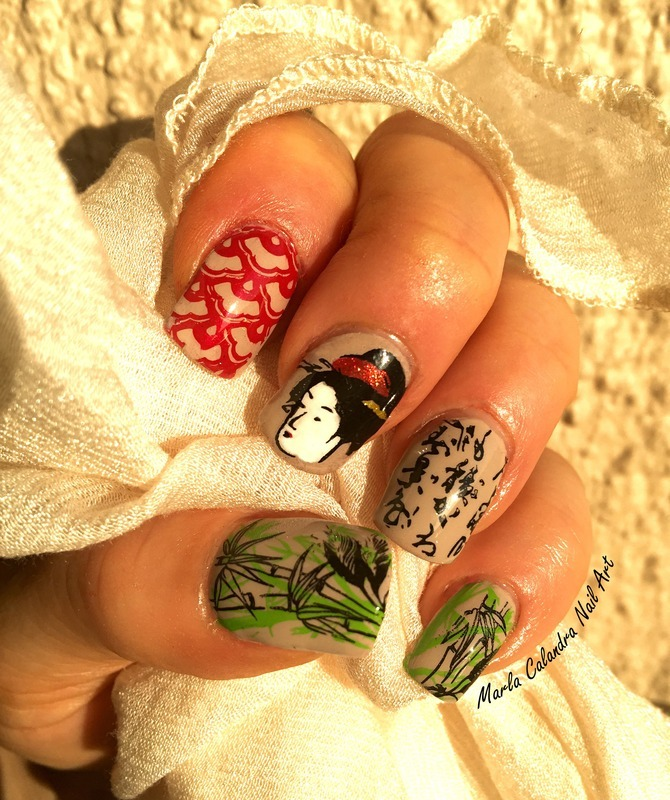 Geisha Amongst The Bamboo Nail Art By Marla Calandra Nailpolis Museum Of Nail Art