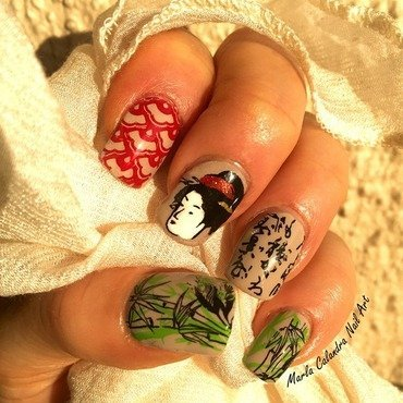 GEISHA AMONGST THE BAMBOO nail art by Marla Calandra