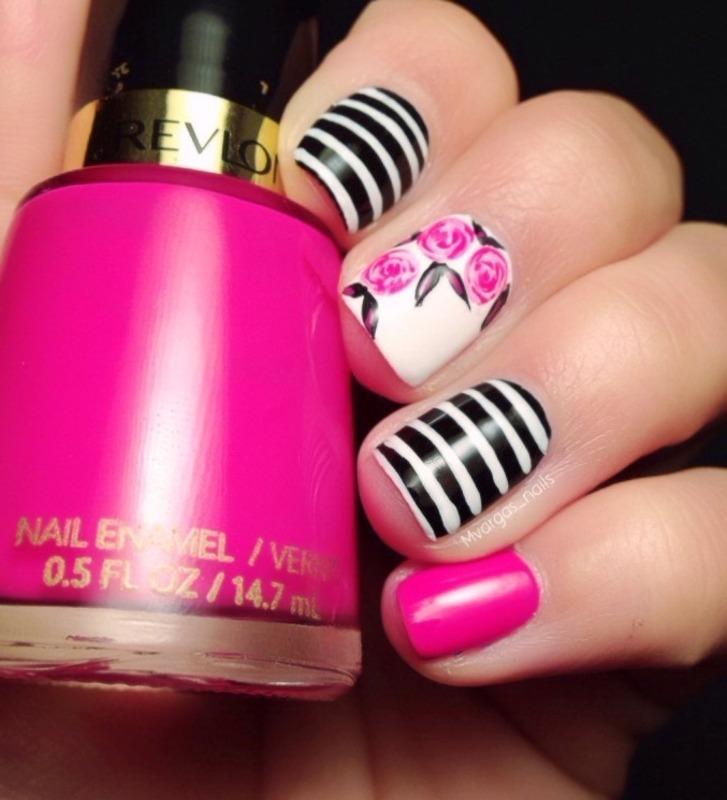 Roses + stripes nail art by Massiel Pena