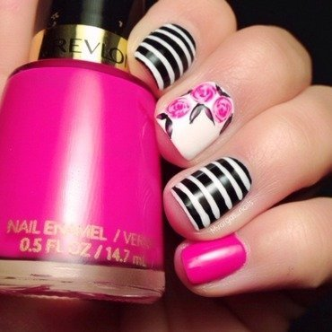 Roses + stripes nail art by Massiel Pena
