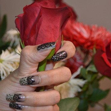 Sheer Black Lace Nail Art nail art by Akanksha  (artwithaks)