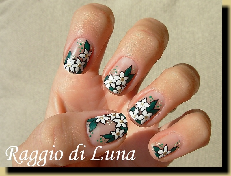 White flowers on nude nail art by Tanja