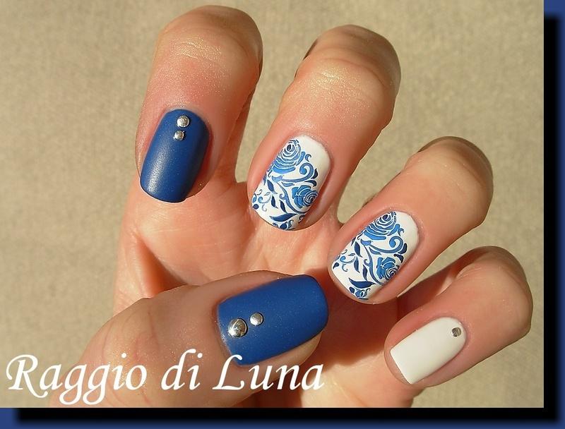 Blue rose on white nail art by Tanja