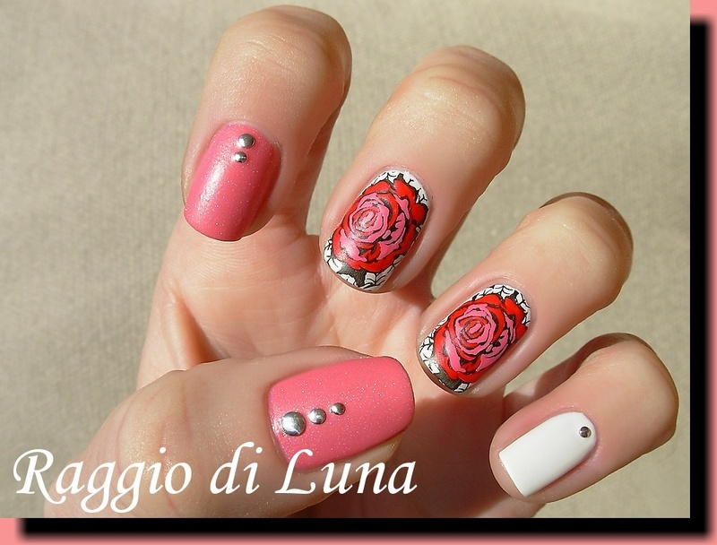 Red & pink rose for St. Valentine's Day nail art by Tanja
