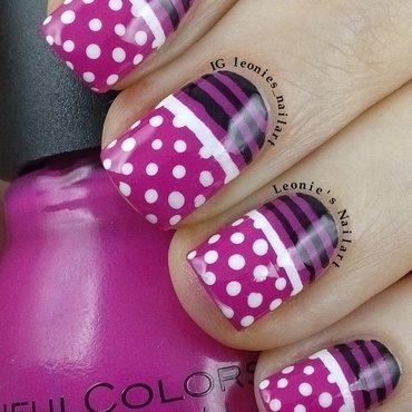 Stripes and Dots nail art by Leonie