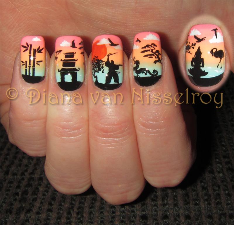 Asian Sunset Nail Art By Diana Van Nisselroy Nailpolis Museum Of