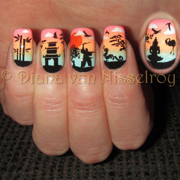 Asian Sunset nail art by Diana van Nisselroy