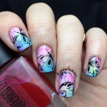 Watercolor Butterflies  nail art by Carmen Ineedamani