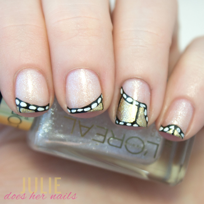 Oscar Film Strip French Tips nail art by Julie - Nailpolis: Museum ...