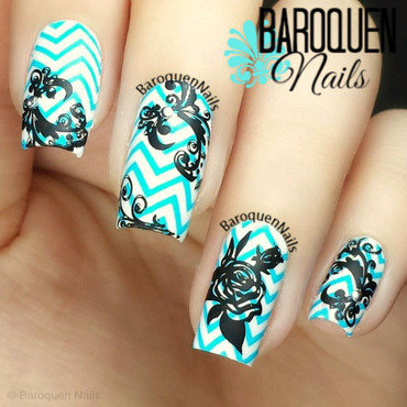 Floral Chevron nail art by BaroquenNails