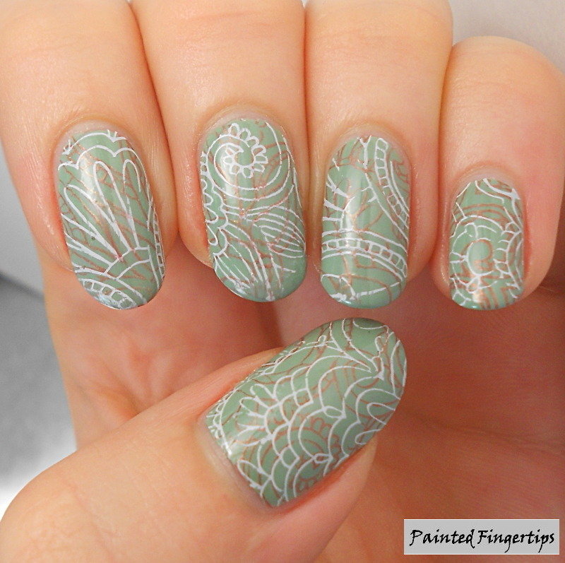 Delicate double stamping nail art by Kerry_Fingertips