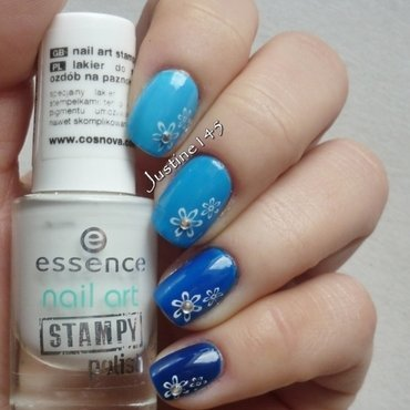 blue ombre manicure nail art by Justine145