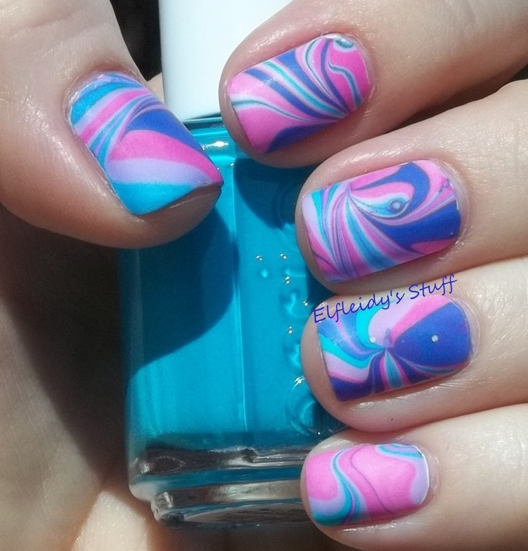Neon water marble nail art by Jenette Maitland-Tomblin