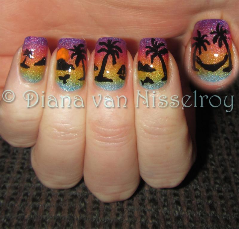 Freehand...Sunset beach scenery nail art by Diana van Nisselroy