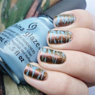 Watermarble without water nail art by Romana