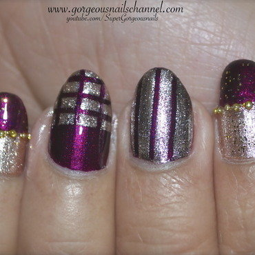 Fun Gold Stripes Nail Art nail art by Demi