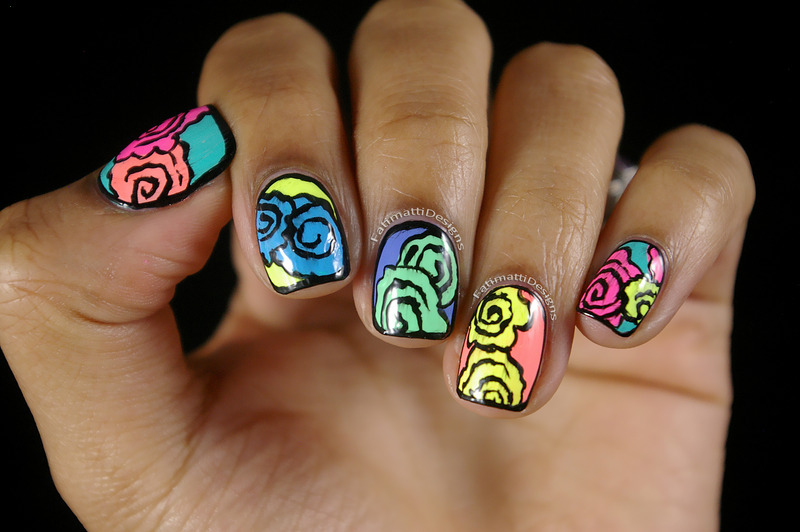 Spring Flowers nail art by Fatimah