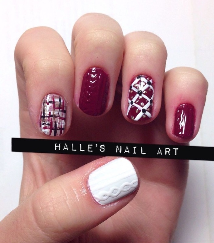 Sweater Weather nail art by Halle Butler