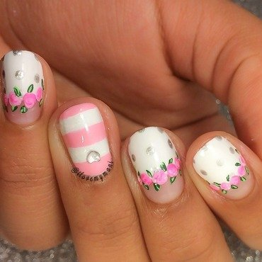 Girly floral nails nail art by Gabrielle
