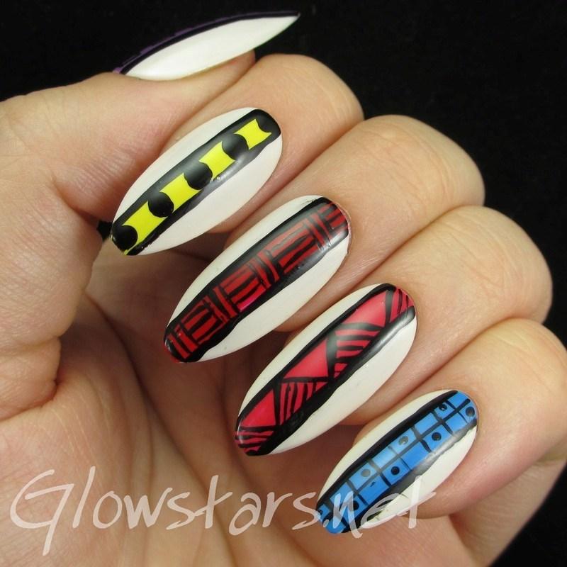 Tribal Stripes nail art by Vic 'Glowstars' Pires