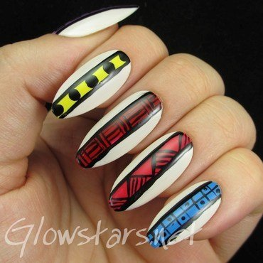 Tribal Stripes nail art by Vic 'Glowstars' Pires
