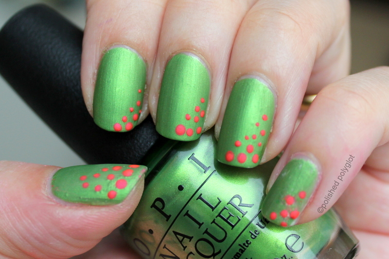 Neon dots over matte green nail art by Polished Polyglot